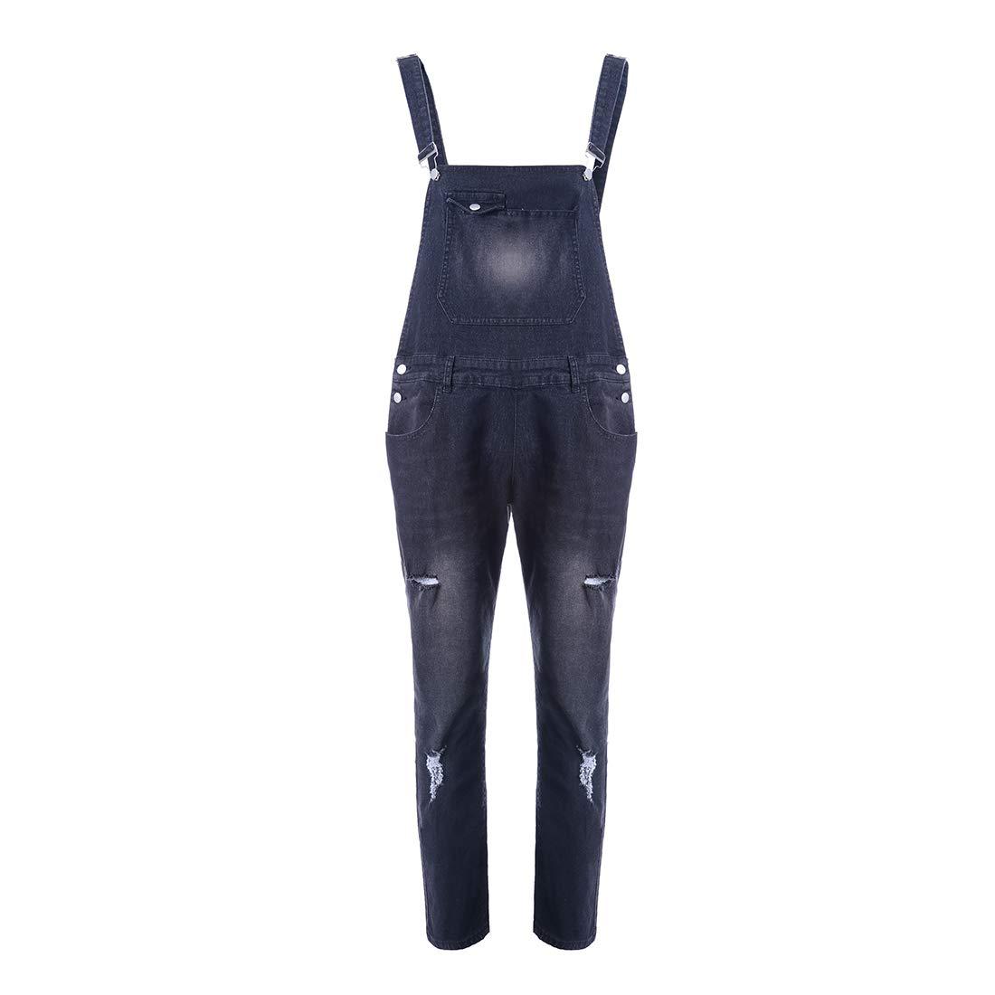 Vertvie Herren Jeans Overalls Latzhose Jeanslatzhose Mode Skinny Fit Slim Leg Jean Street Distressed Denim Hosentr/ägerhose