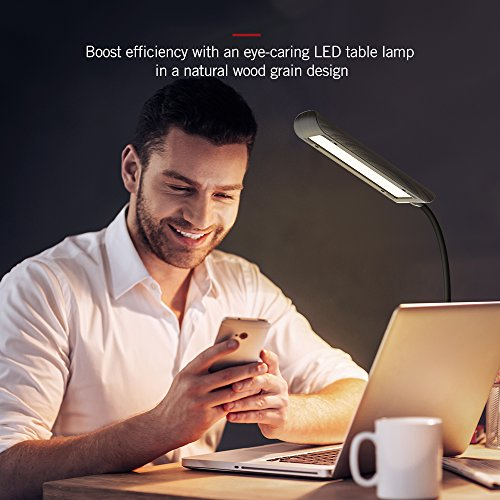 TaoTronics Desk Lamp, LED Table Light with 5 Lighting Modes & 7 Brightness Levels (Eye Caring, Flexible Gooseneck, Touch Controls, Memory Function) Wood Grain Design by TaoTronics (Image #6)