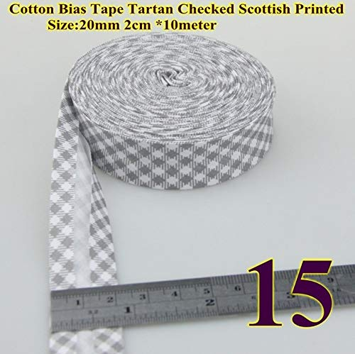 DalaB Ment 100% Cotton Bias Tape dots,Stripes, Checks Patterns Printe bias Tape 20mm,10meter Spots Scottish Twill Fabric fold - (Color: 15 Checks Grey) ()