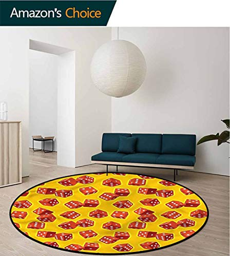 RUGSMAT Yellow and Red Round Rugs for Bedroom,Dice Gambling Non Skid Nursery Kids Area Rug for Bedroom Machine Washable - Dice Fun Gripper