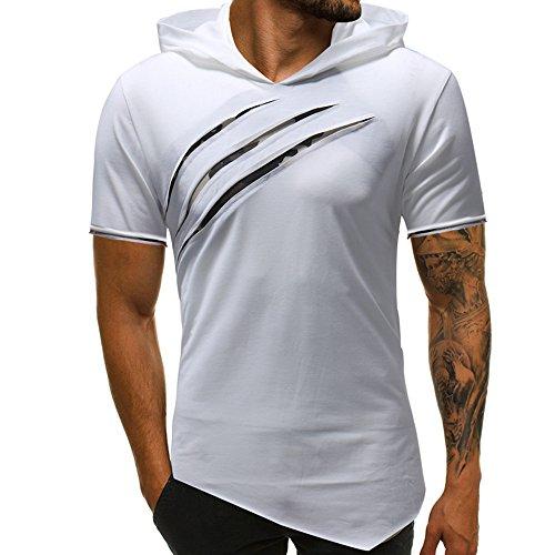 Sweat Manche Capuche Blanc Unie Hommes Shirt Tops Couleur Irrégulier Mode Courte T Blouse À Amlaiworld Ourlet 0BFxwXt