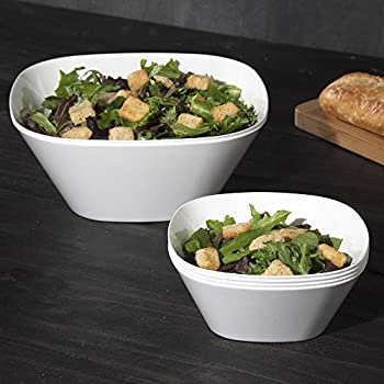 Set of 6 | Avant White Plastic Serving Bowls, Small Party Snack Bowls and Large Salad Bowls