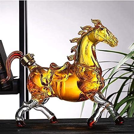 HTRTH Inicio Whiskey Dispensador De Botellas Reutilizable Animal Botella De Vino Aeroator Licor Decantadores Caballo Caballo Caballo Decantadores 0511