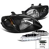 2000 honda civic jdm bumper - JDM Black Honda Civic DX EX LX Si Headlights+Bumper LED Fog Lamps