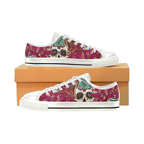 D-story Custom Cool Skull And Flower Womens Classic Canvas Shoes Fashion Sneaker