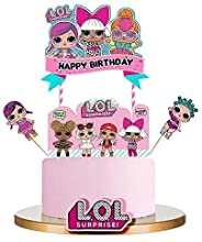 LOL Cake Topper, Happy Birthday Cake Topper, Pink Cake Decorations for Baby Theme Party - Single Side 1 count