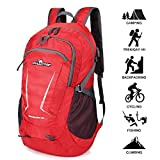 Loocower 45L Packable Ultralight Hiking Backpack, Lightweight Multi-functional Casual Camping Trekking Rucksack Cycling Travel Climbing Mountaineer Outdoor Sport Daypack Bag - Red