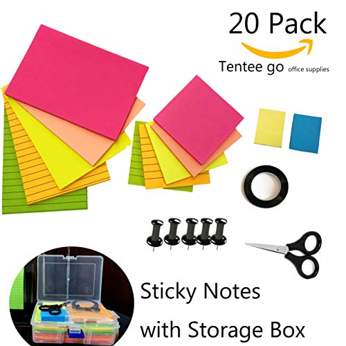 Sticky Notes Sticky Pads Self-Stick Notes Big and Small,Lined and Blank Sticky Notes with Storage Box -Bones (5Push pins and 1Tape with 1scissor) by Tentee go