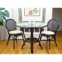3 Pc Rattan Wicker Dining Set Round Table Glass Top+2 Denver Side Chairs. Dark Brown