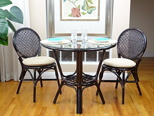 3 Pc Rattan Wicker Dining Set Round Table Glass Top+2 Denver Side Chairs. Dark Brown (With Wicker Chair Big Cushion Round)