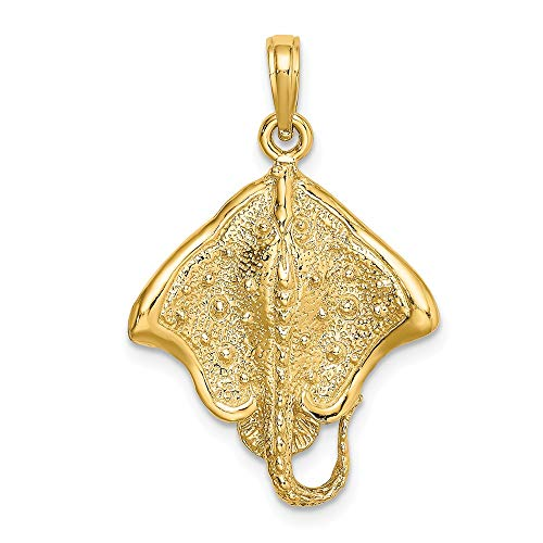 14k Yellow Gold STINGRAY Polished Edge Charm ()