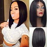 NiceToBuy Glueless 10-14inch Silky Straight Short Bob Cut Lace Front Wig Brazilian Virgin Human Hair Wigs for Women 130% Density Medium Size Cap (12inch, #1b)