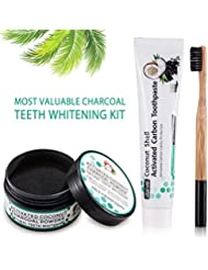 All Natural Activated Coconut Charcoal Teeth Whitening Powder (30g) + Coconut Charcoal Whitening Toothpaste (120g) + Bamboo Toothbrush for Brighter and Healthier Teeth