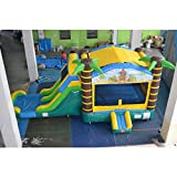 Tiki Bounce House with Slide Combo, Single Lane Wet or Dry Slide, Premium Commercial Quality, Beach Luau Moon Bounce