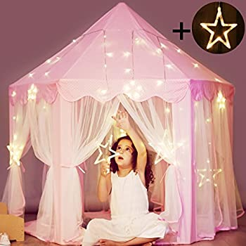 Princess Castle Tent with Large Star Lights String Durable Girls Play Tent for Indoor and & Amazon.com: [UPGRATED]Princess Castle Play House Play Tent for ...