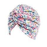 AkoMatial Cotton Floral Print Chemo Beanie Cap Turban Stretch Head Wrap Cancer Hat for Women