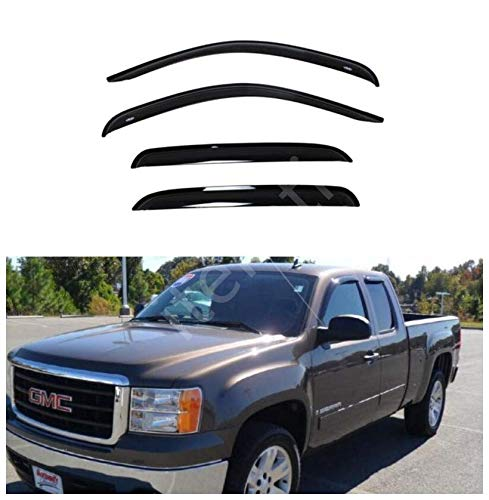 itelleti 4pcs Outside Mount Dark Smoke Sun/Rain Guard Front+Rear Tape-On Auto Window Visors For 07-13 Chevy Silverado/GMC Sierra New Body 1500/2500/3500 HD Extended Cab With Half Size Rear Doors