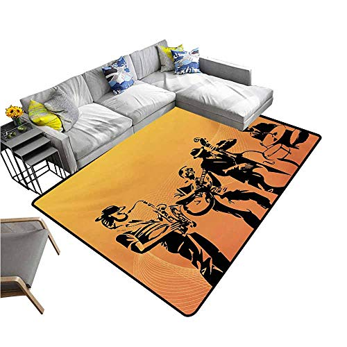 - Bathroom Floor mats Jazz Music,Silhouette of Jazz Quartet Performing on Stage Acoustic Passion Old Style Art,Mustard Black 60