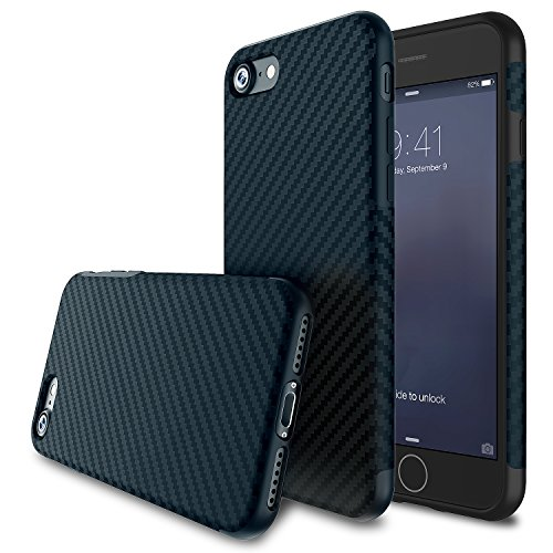 Rubberized Carbon Fiber (BASSTOP 4.7-Inch Super-Slim Anti-Slip Grip  Carbon Fiber Hybrid Rubberized Full Body Protector Cover Premium Flexible Soft TPU Case for Apple iPhone 7 - Navy blue 4.7)
