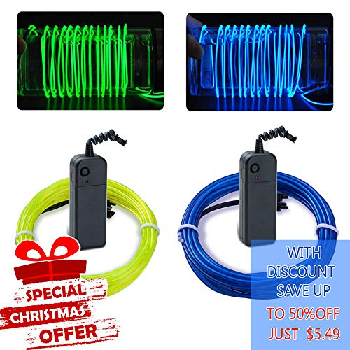 EL Wire Kit Neon Lights Battery Pack Christmas Tree,Halloween,Easter DIY Decoration,2PCS(1m / 3.2ft,Fluorescent Green,Blue)
