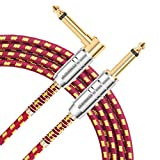 AIHIKO Guitar Lead Cable 10Ft/3m 6.3mm Braided TS Mono Instrument Performance Cord 1/4 Straight to Right Angle Jack with Gold Plugs for Electric Bass and Keyboard, Red/Yellow Tweed