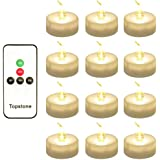 Topstone CR2450 Battery Powered Warm White Led Tealight Candles with Timer and Remote Control ,Pack of 12,Best for Parties ,Home Decor Wedding and Festival Celebration (Warm White)