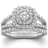 1 1/10ct Cushion Halo Diamond Engagement Wedding Ring Set 10K White Gold