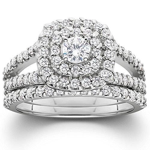 Diamond Engagement Wedding Set - 1 1/10ct Cushion Halo Diamond Engagement Wedding Ring Set 10K White Gold