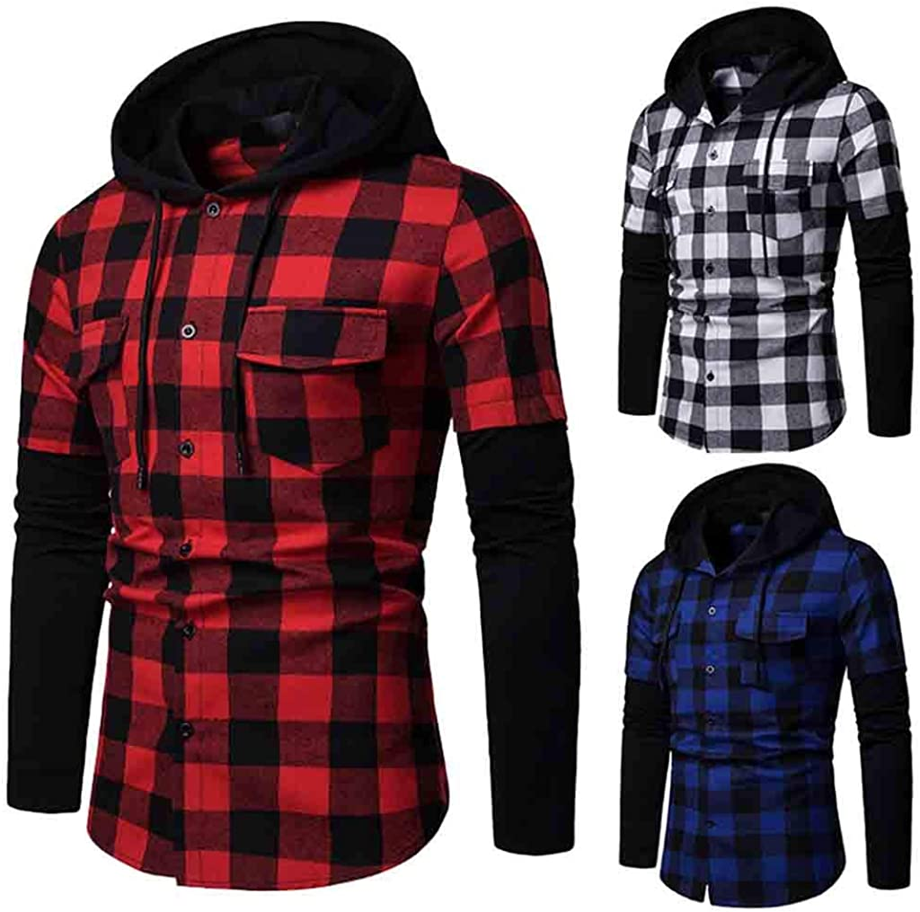 Fxbar,Mens Lattice Plaid Patchwork Cardigan Tops Daily Wear Hoodies Jackets Fashion Pullover Blouse