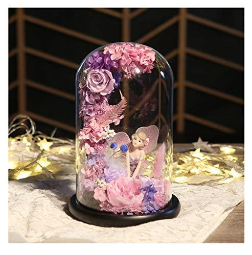 BLAKQ Eternal Flower Gift Box Glass Cover Purple Angel with Romantic Night Light Valentine's Day Birthday Girl Girlfriend Creative Gift Everlasting Flower - Artificial