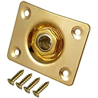 Micity Guitar Square Shape Input Output Plate Jack Plug Socket For SQ ST Fender Electric Guitar Bass Retrofits Spare Parts (gold)