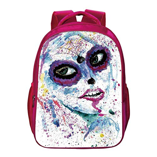Girls Printing Backpack,Grunge Halloween Lady with Sugar Skull Make Up Creepy Dead Face Gothic Woman Artsy for Kids -