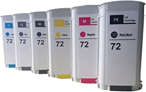 DOAO (130ml) Remanufactured Replacements for Hewlett Packard 6 Packs Ink Cartridges Photo Black Cyan Magenta Yellow Gray Matte Black for HP72 for HP designjet T1100 T1200 T2300 T610 T790 printer