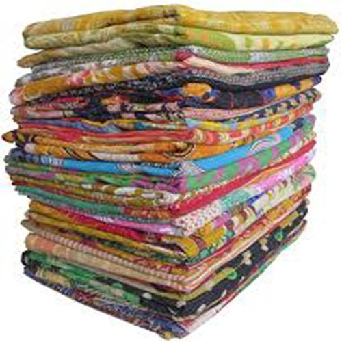 10 Pieces Mix Lot of Indian Tribal Kantha Quilts Vintage Cotton Bed Cover Throw Old Sari Made Assorted Patches Made Rally Whole Sale Blanket Marubhumi CA-157
