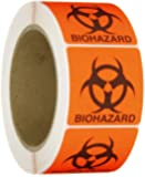 "Roll Products 142-0011 Round Cornered Permanent Adhesive Biohazard Warning Label with Black Imprint, Legend ""Biohazard"" (with Logo), 2"" Length x 2"" Width, for Identifying and Marking, Fluorescent Red/Orange (Roll of 500)"