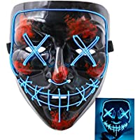 heytech Halloween Scary Mask Cosplay Led Costume Mask EL...