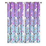 Blackout Window Kitchen Curtains Drapes, 2 Panels Set Window Treatment for Living Room/Bedroom/Office,Valentine's Day Friendship Romantic Unicorns with Rainbow Love Decorating Design, 104W by 96L inch