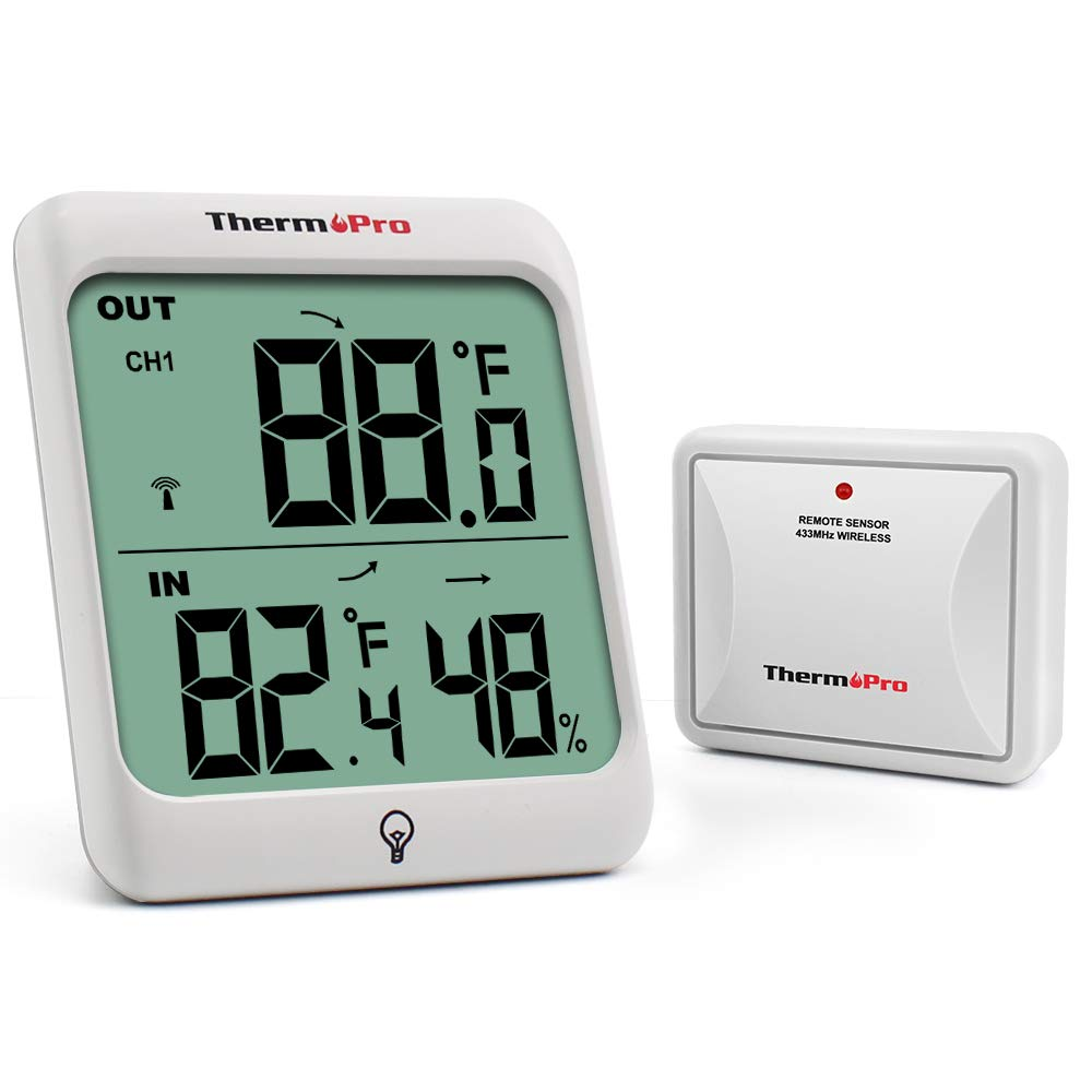 ThermoPro  TP63 Digital Wireless Hygrometer Indoor Outdoor Thermometer Wireless Temperature  and  Humidity Monitor with Cold-  resistant and Waterproof Humidity Gauge, 200ft / 60m Range by ThermoPro