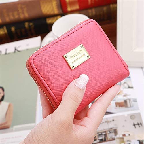 Gimax Coin Purses Color: Pink Fashion Ultrathin Coin Bag Zipper Mini Wallets PU Leather Zipper Coin Purse Coin Wallet Coin Bag