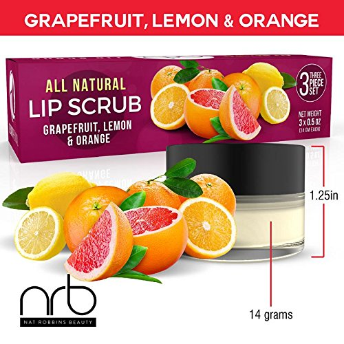 NRB Beauty Revival Lip Scrub 3 Piece Set - All Natural Sugar Based - Exfoliating & Moisturizes Chapped Dry Lips - 0.5 oz Each - Made In The USA - Citrus by NRB (Image #3)