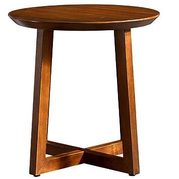 Amazon.com: Mesa auxiliar redonda de madera maciza Hanshan ...