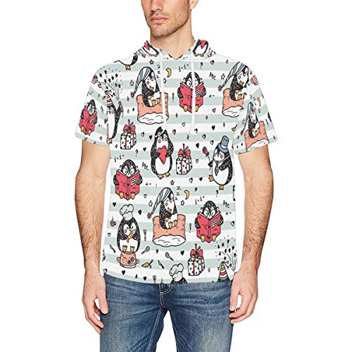 InterestPrint Men's Short Sleeve Hoodies Shirts Cute Funny Penguins Lightweight Hooded T-Shirt M