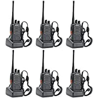 Elephant XuBaofeng BF-888S Walkie Talkies UHF400-470MHz US Charger 16 Channels 2 Way Radio with Flashlight (Black,Pack of 6)