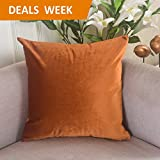 "Home Brilliant Deluxe Velvet Decorative Throw Pillow Cover for Sofa/Couch/Chair/Bench, 18""x18"", Copper"