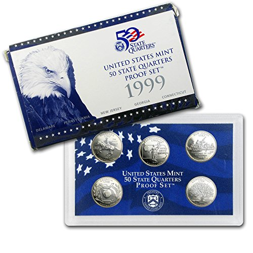 - 1999 S U.S. Mint Proof State Quarter Set - 5 Coins - OGP Original Government Packaging Superb Gem Uncirculated