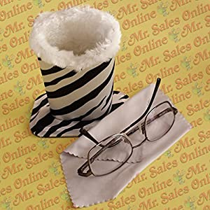Zebra Design Plush Eyeglass Stand Holder with Cleaning Cloth, Protect and Store by Mr. Sales