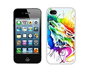 Case For Sumsung Galaxy S4 I9500 Cover Durable Soft Silicone PC Funny Slim Rainbow wolf Art White Cell Phone for Sumsung Galaxy S4 I9500