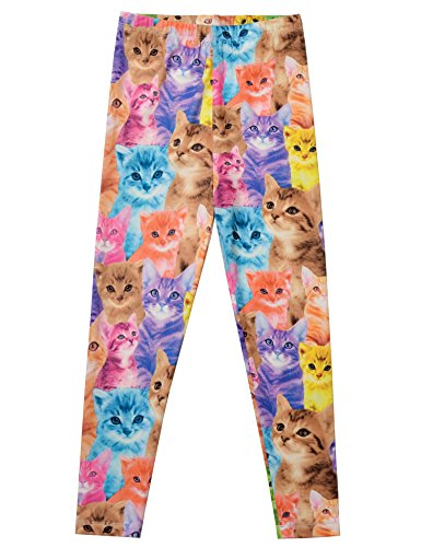 Print Girls Animal (Jxstar Little Girl's Pants Cartoon Animal Print Trousers Cat Pattern Ankle Length Basic Leggings Thin Cat 110)