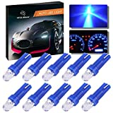 #7: YITAMOTOR 10 Pack T5 Hat 5050 Tri-Cell 1-SMD LED Dashboard Gauge Instrument Panel Blue Light Bulb Lamp 37 58 70 73 74 12V