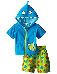 Wippette Little Boys Fishy Hooded Beach Terry Cover-up Swim Trunk Set, Turquoise, 4T